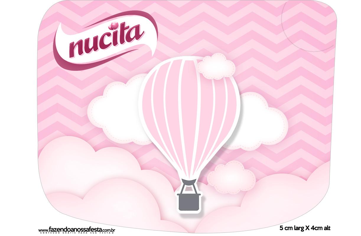 Rotulo Creminho Nucita Balão de Ar Quente Rosa