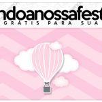 Rotulo Lápis Balão de Ar Quente Rosa Kit Festa