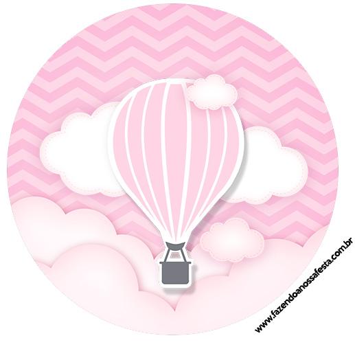 Rotulo Latinhas, Toppers e tubete Balão de Ar Quente Rosa
