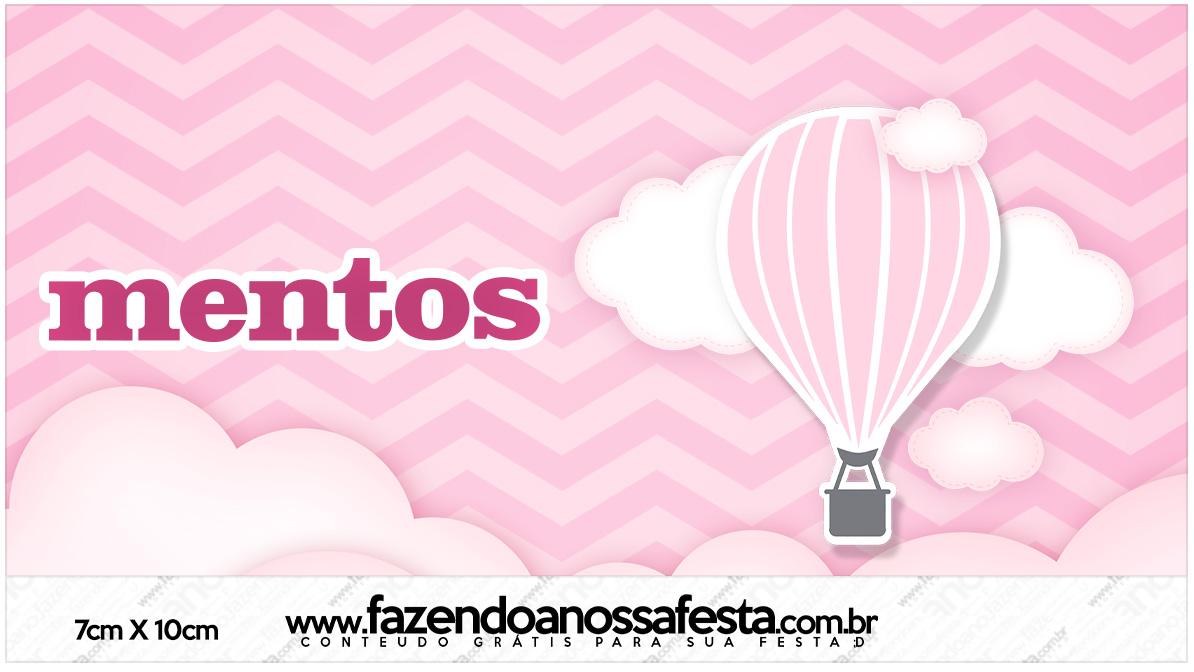 Rotulo Mentos Balão de Ar Quente Rosa Kit Festa