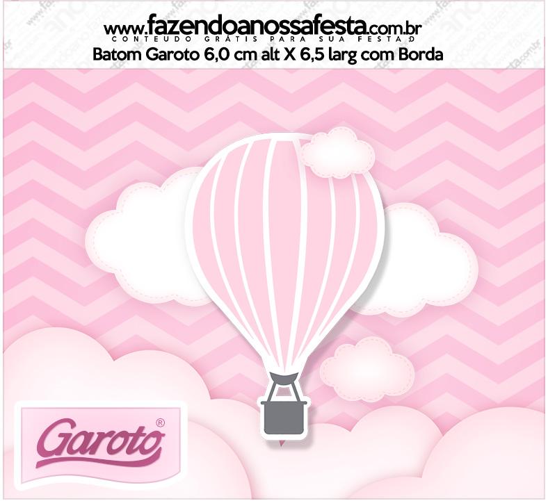 Rotulo Mini Baton Garoto Balão de Ar Quente Rosa Kit Festa