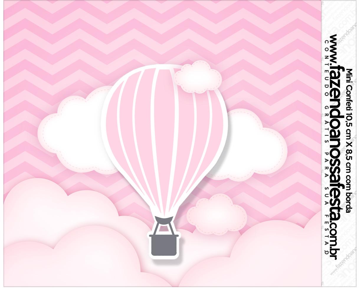 Rotulo Mini Confeti Balão de Ar Quente Rosa