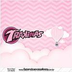 Rotulo Mini Trakinas Balão de Ar Quente Rosa