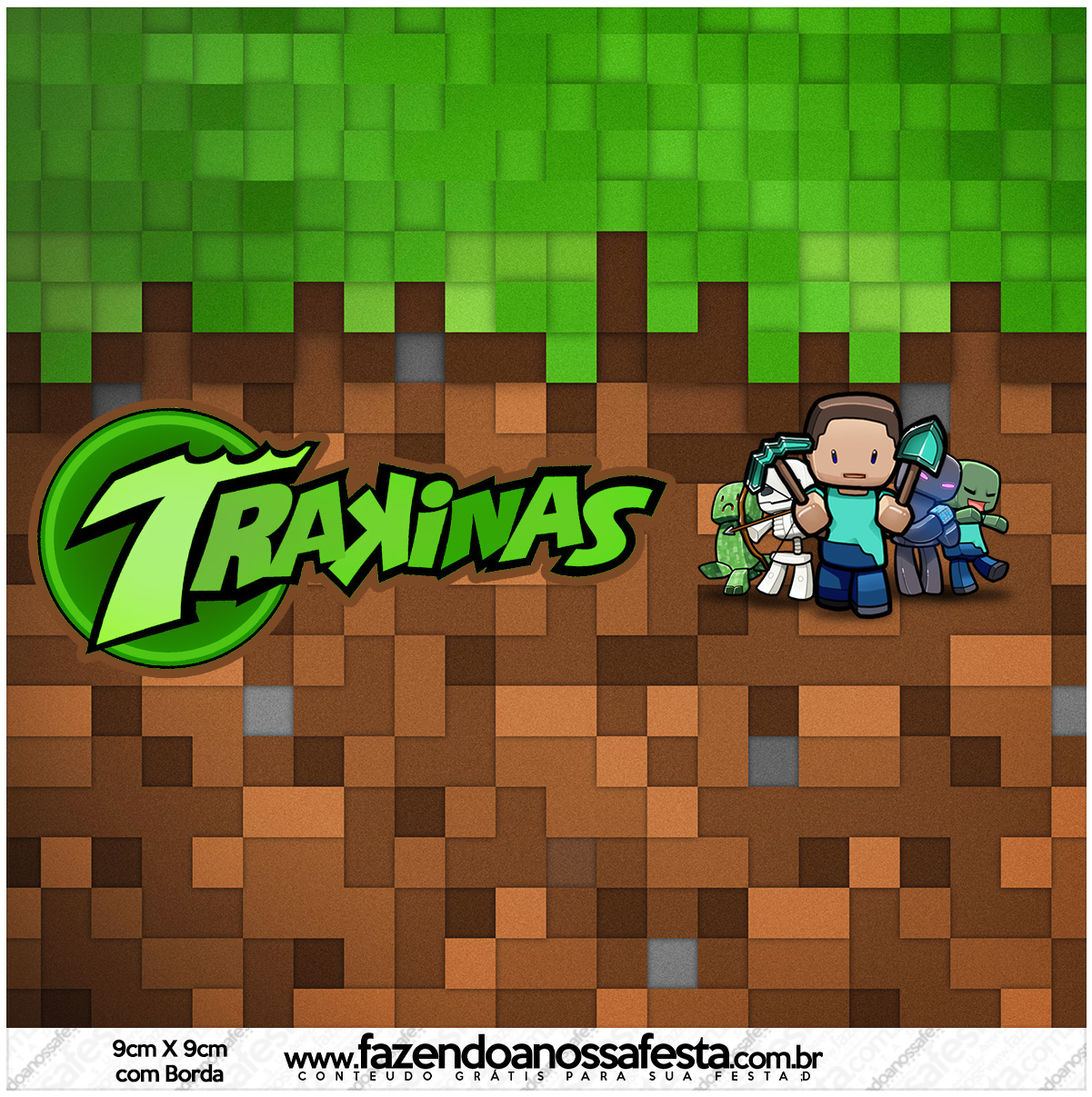 Rotulo Mini Trakinas Minecraft