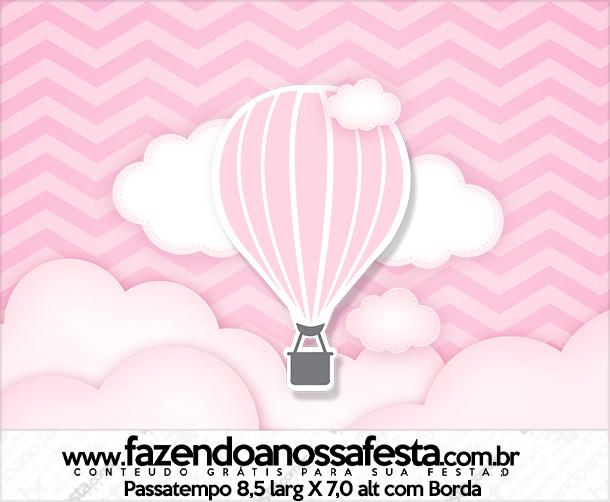 Rotulo Passatempo Balão de Ar Quente Rosa