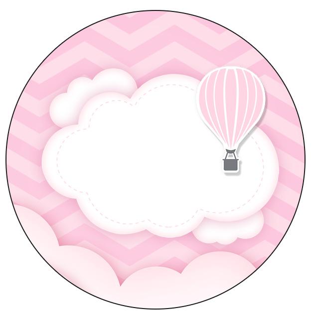 Rotulo Personalizado para latinha e toppers Balão de Ar Quente Rosa
