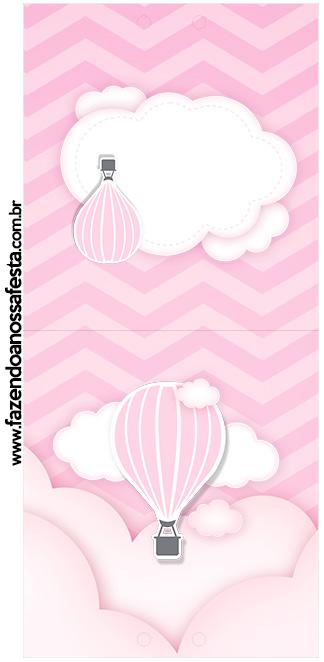 Rotulo Pirulito Balão de Ar Quente Rosa