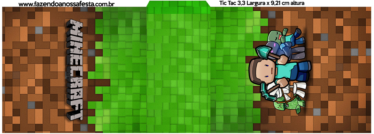 Rotulo Tic Tac Minecraft Kit Festa