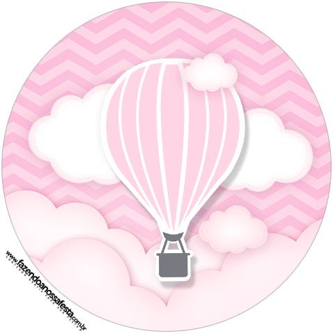 Rotulo Tubete 2 Balão de Ar Quente Rosa