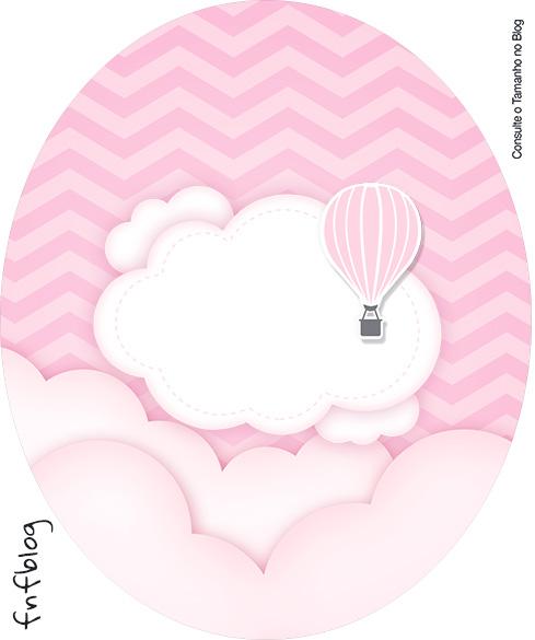 Rotulo Tubete Oval Balão de Ar Quente Rosa Kit Festa