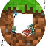 Rotulo Tubete Oval Minecraft Kit Festa