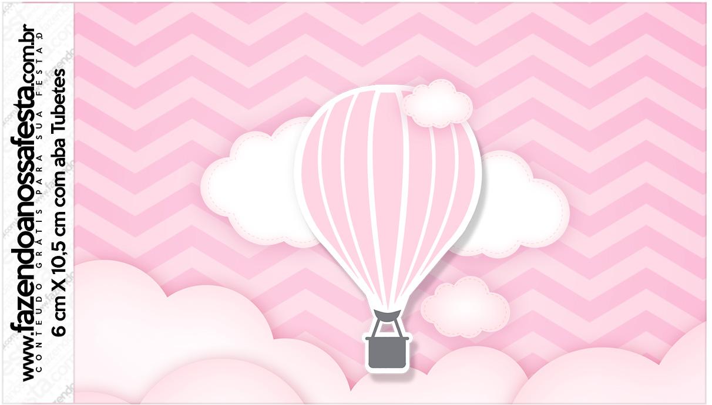 Rotulo Tubetes Balão de Ar Quente Rosa