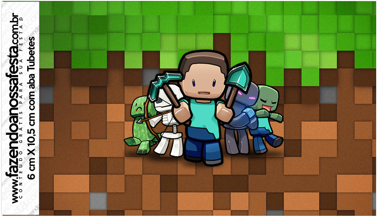 Letras Minegraft Fazendo A Nossa Festa: Rotulo Tubetes Minecraft