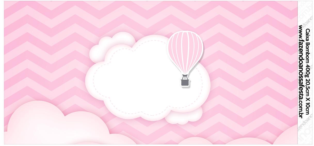 Rotulo para Caixa bombom Balão de Ar Quente Rosa