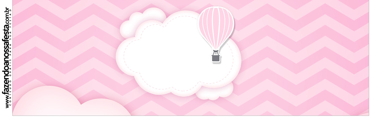 Rotulo para Squezze Balão de Ar Quente Rosa Kit Festa