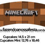 Saias Wrappers para Cupcakes Minecraft Kit Festa