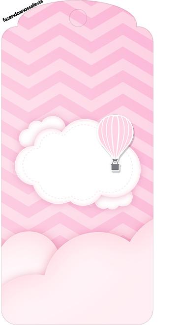 Tag Agradecimento Balão de Ar Quente Rosa Kit Festa