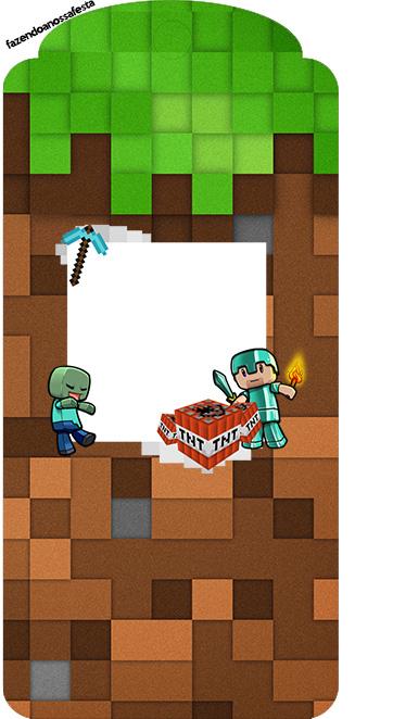 Tag Agradecimento Minecraft Kit Festa