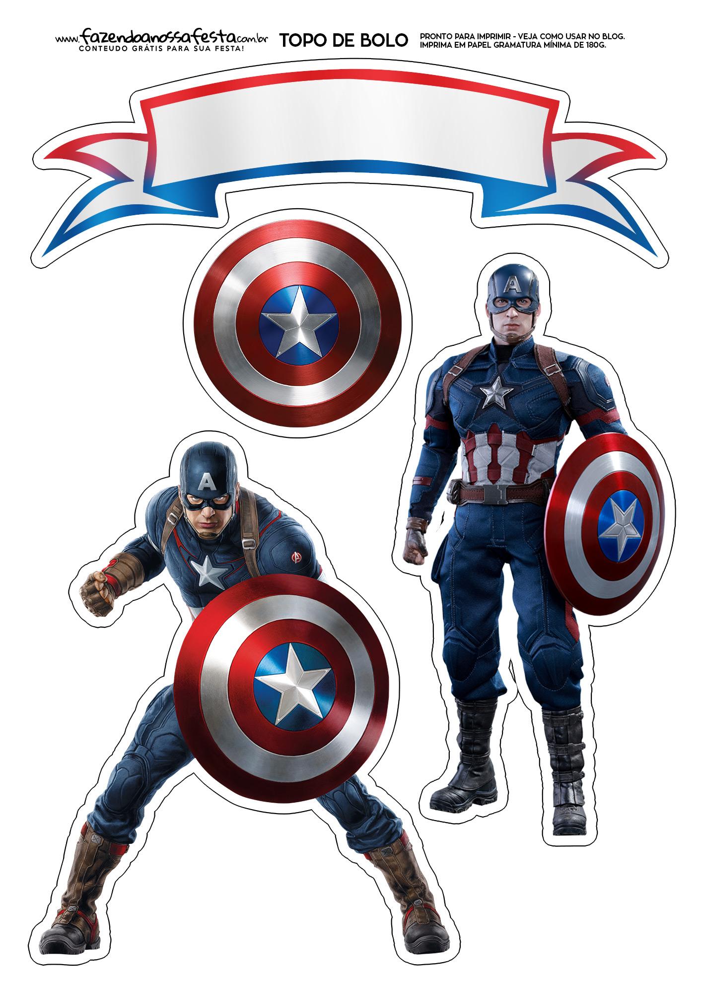 Topo de Bolo Capitão America