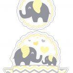 Topo de Bolo Elefantinho Amarelo