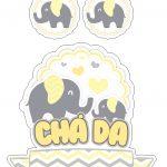 Topo de Bolo Elefantinho Amarelo 2