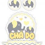 Topo de Bolo Elefantinho Amarelo 3