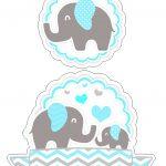 Topo de Bolo Elefantinho Azul