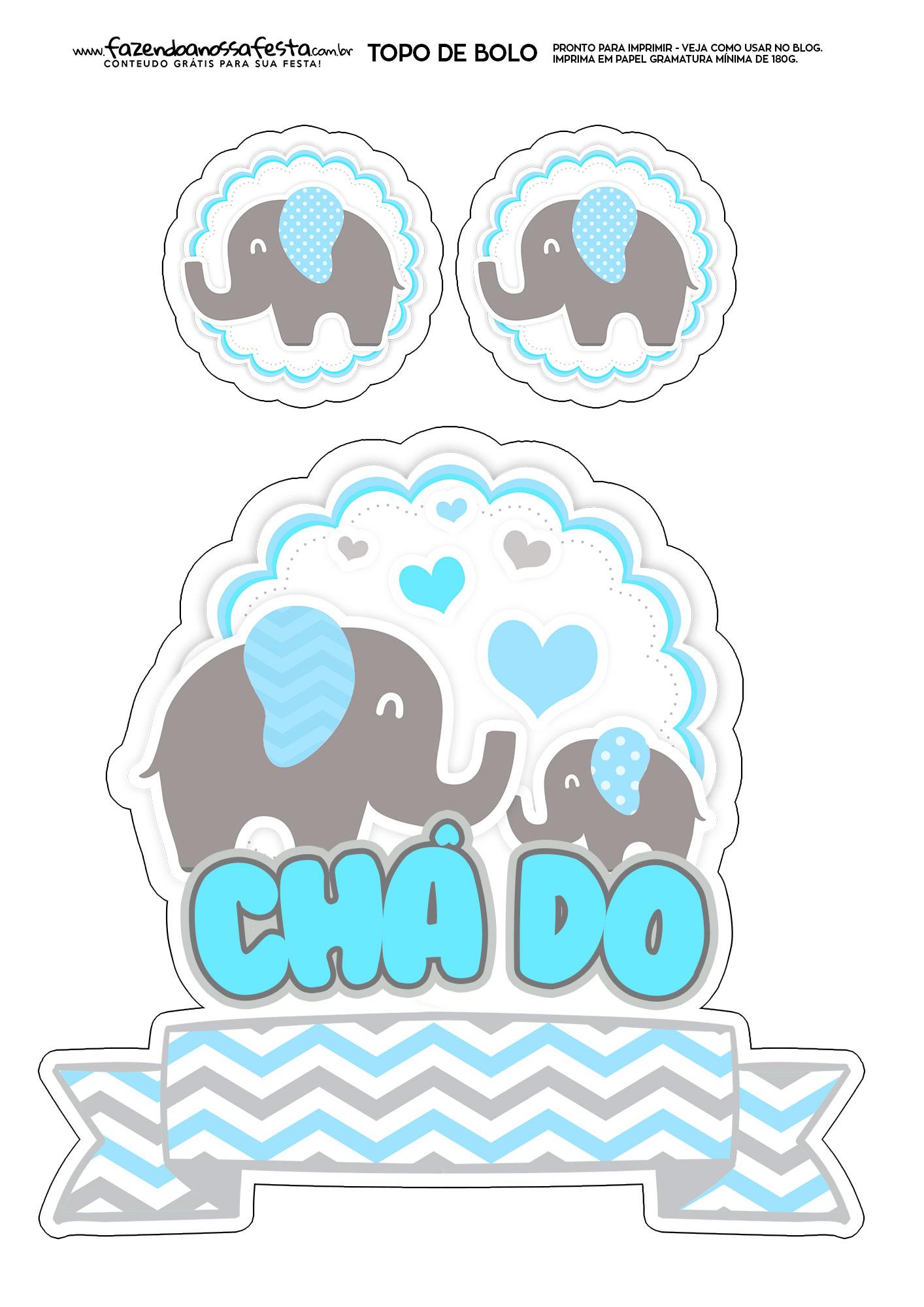 Topo de Bolo Elefantinho Azul 2