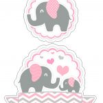 Topo de Bolo Elefantinho Rosa