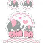 Topo de Bolo Elefantinho Rosa 2