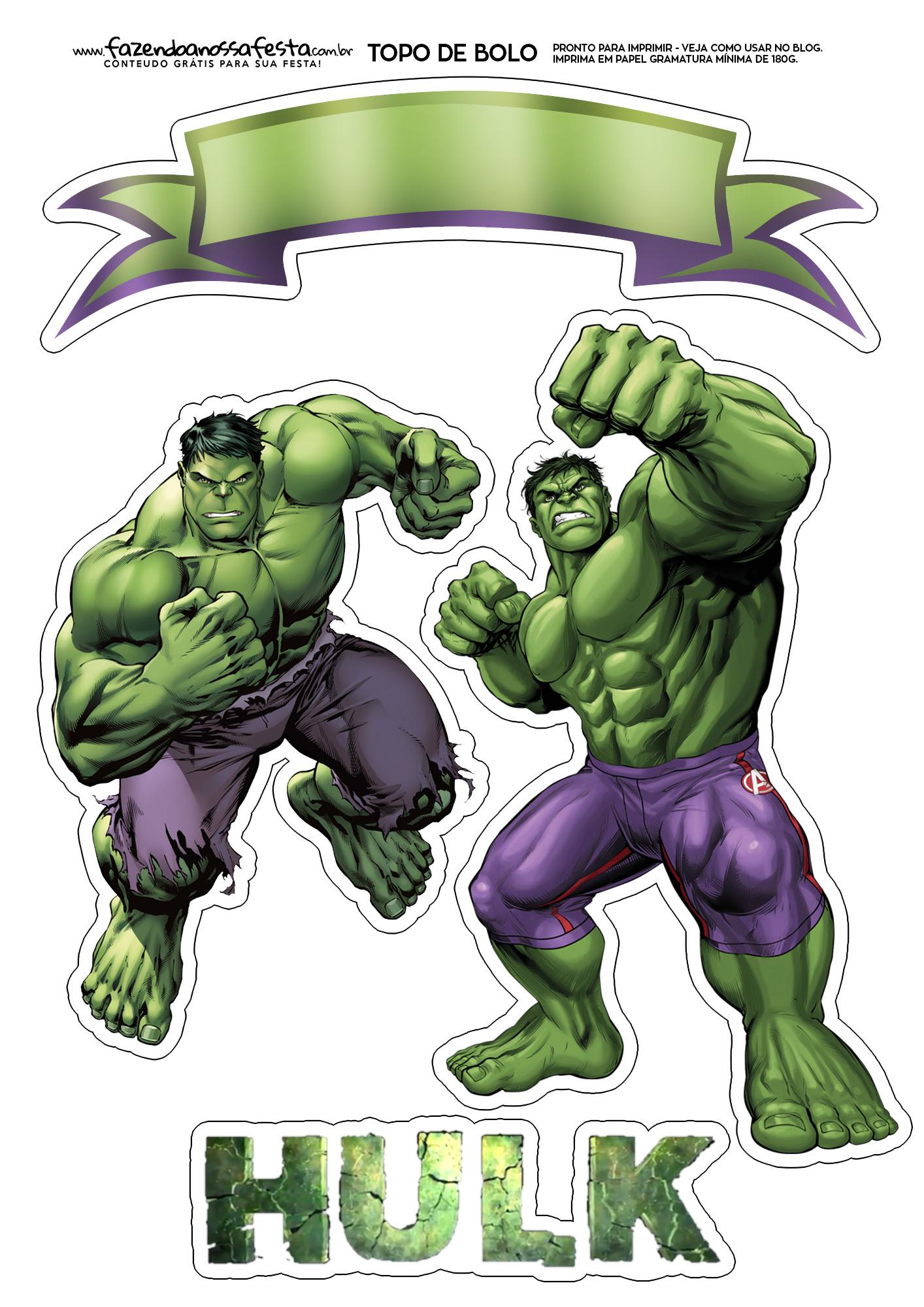 Topo de Bolo Hulk