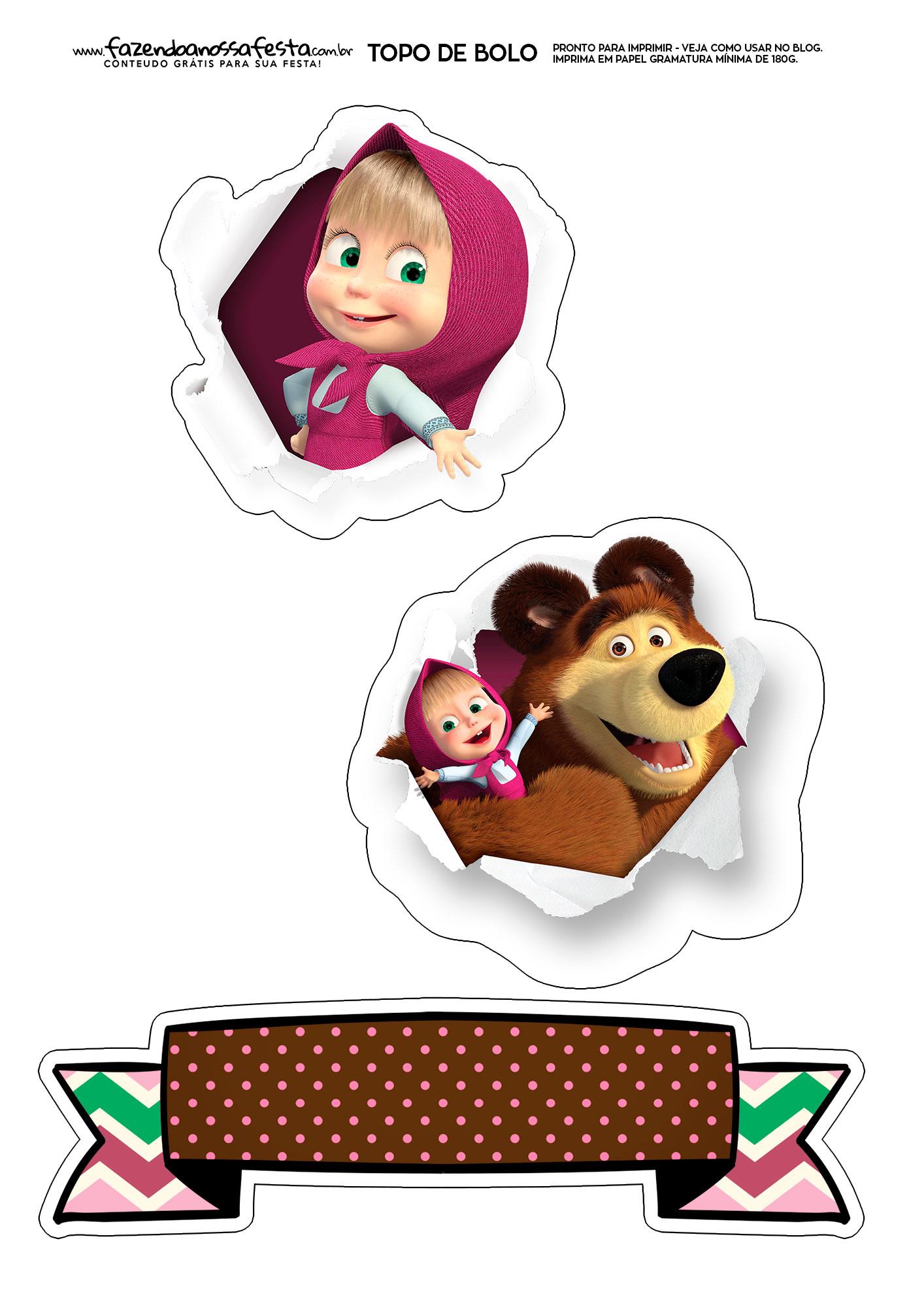 Topo de Bolo Masha e o Urso 1