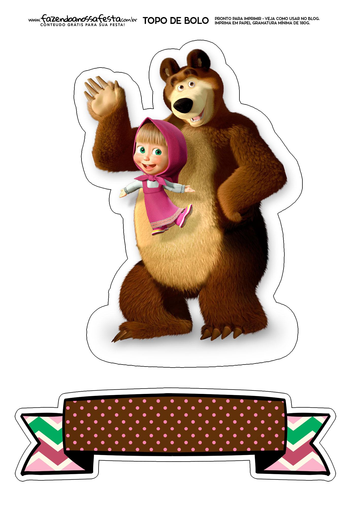 Topo de Bolo Masha e o Urso 2
