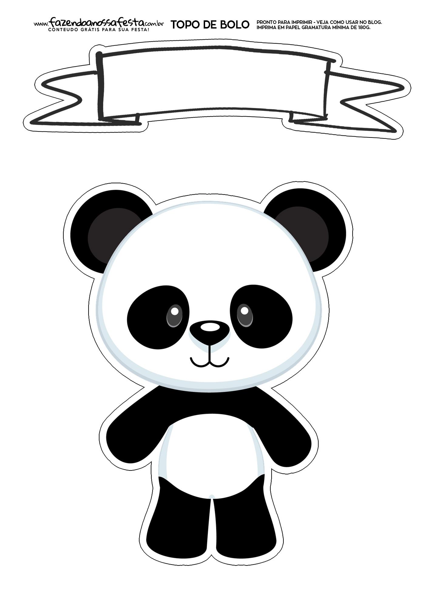 Topo de Bolo Panda