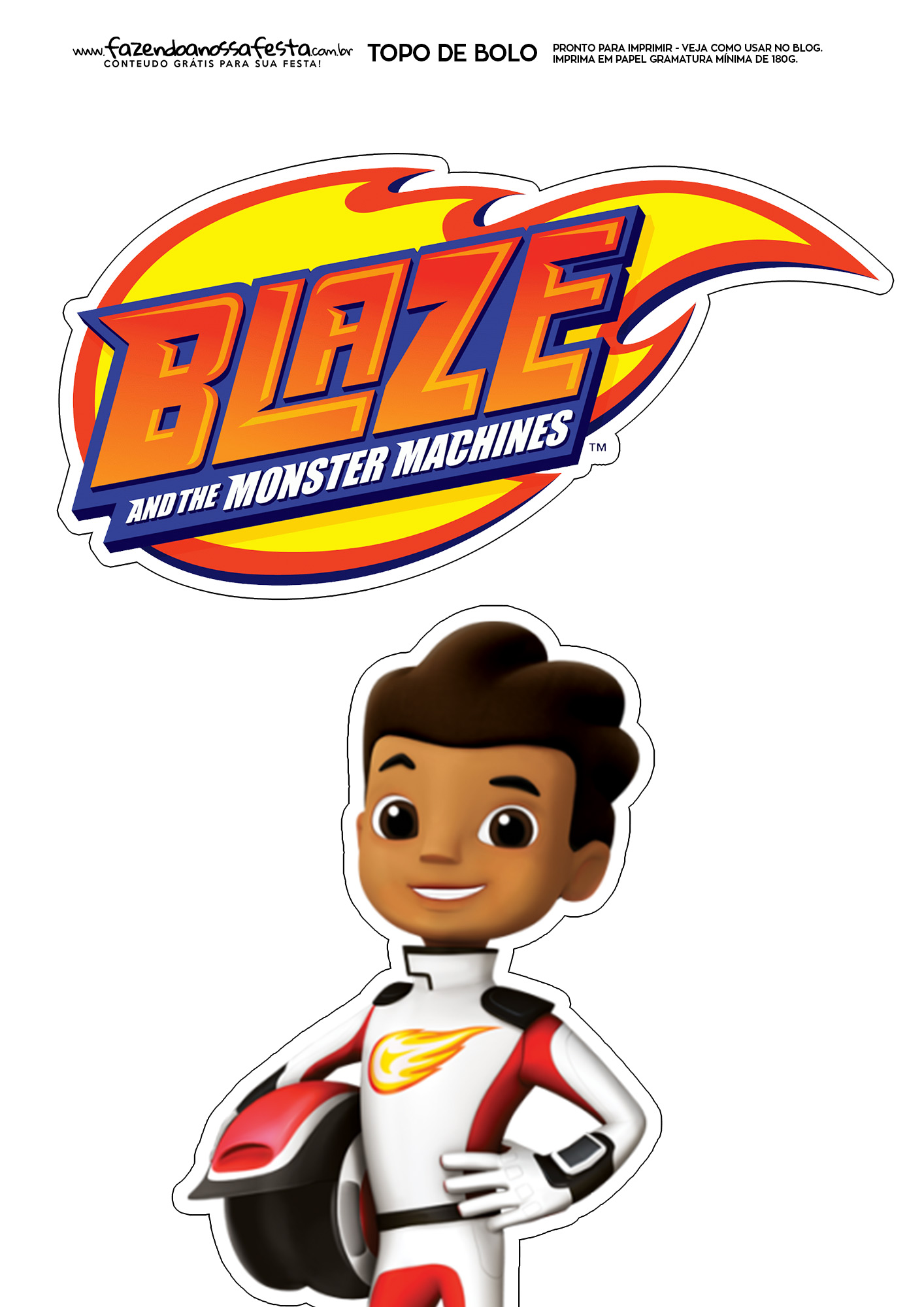 Topo de Bolo blaze and the monster machines 4
