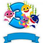 Topo de bolo Baby Shark numero 3