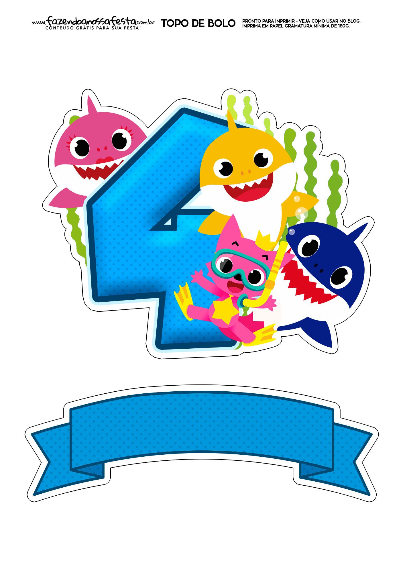Topo de bolo Baby Shark numero 4