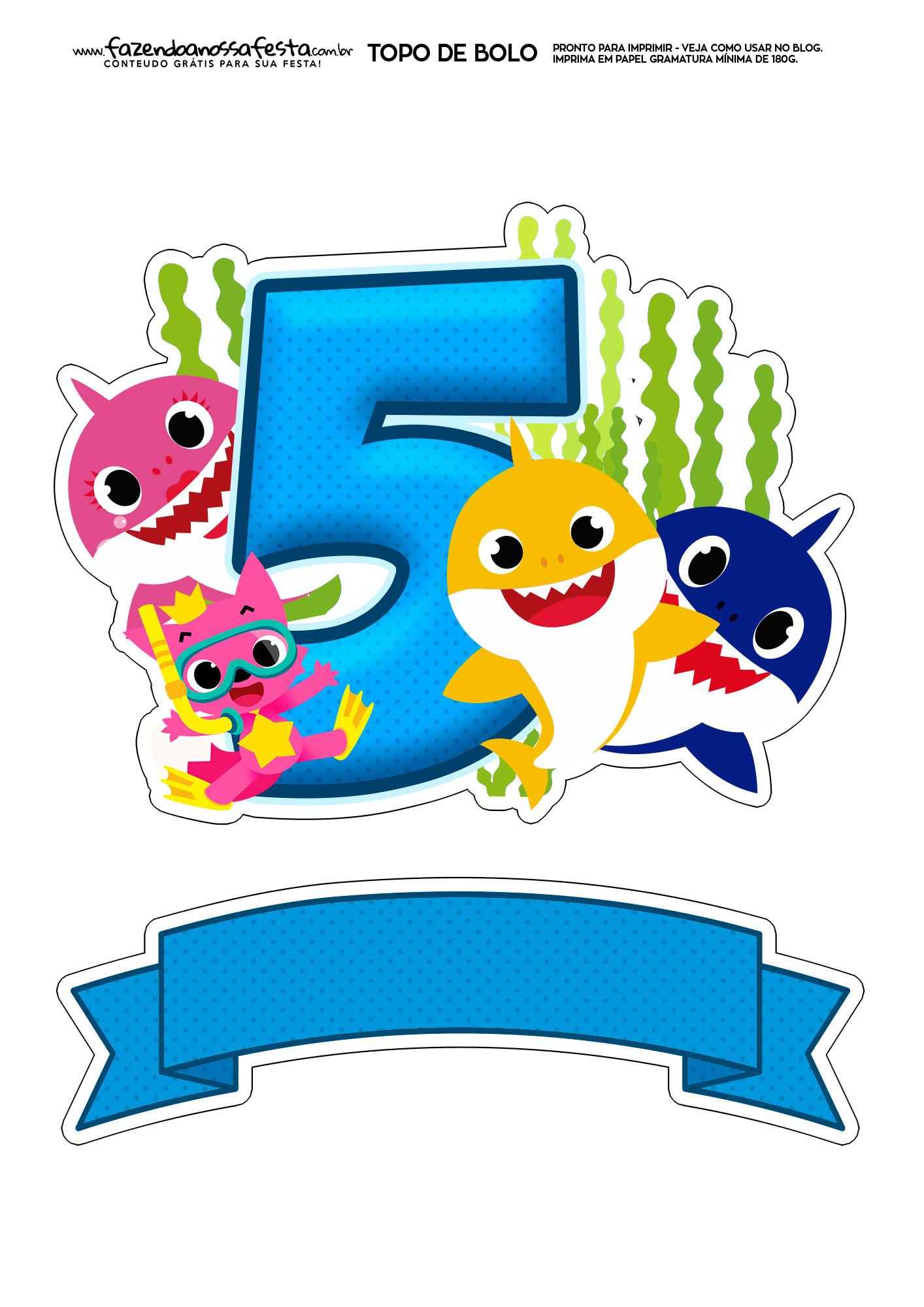 Topo de bolo Baby Shark numero 5