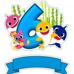 Topo de bolo Baby Shark numero 6