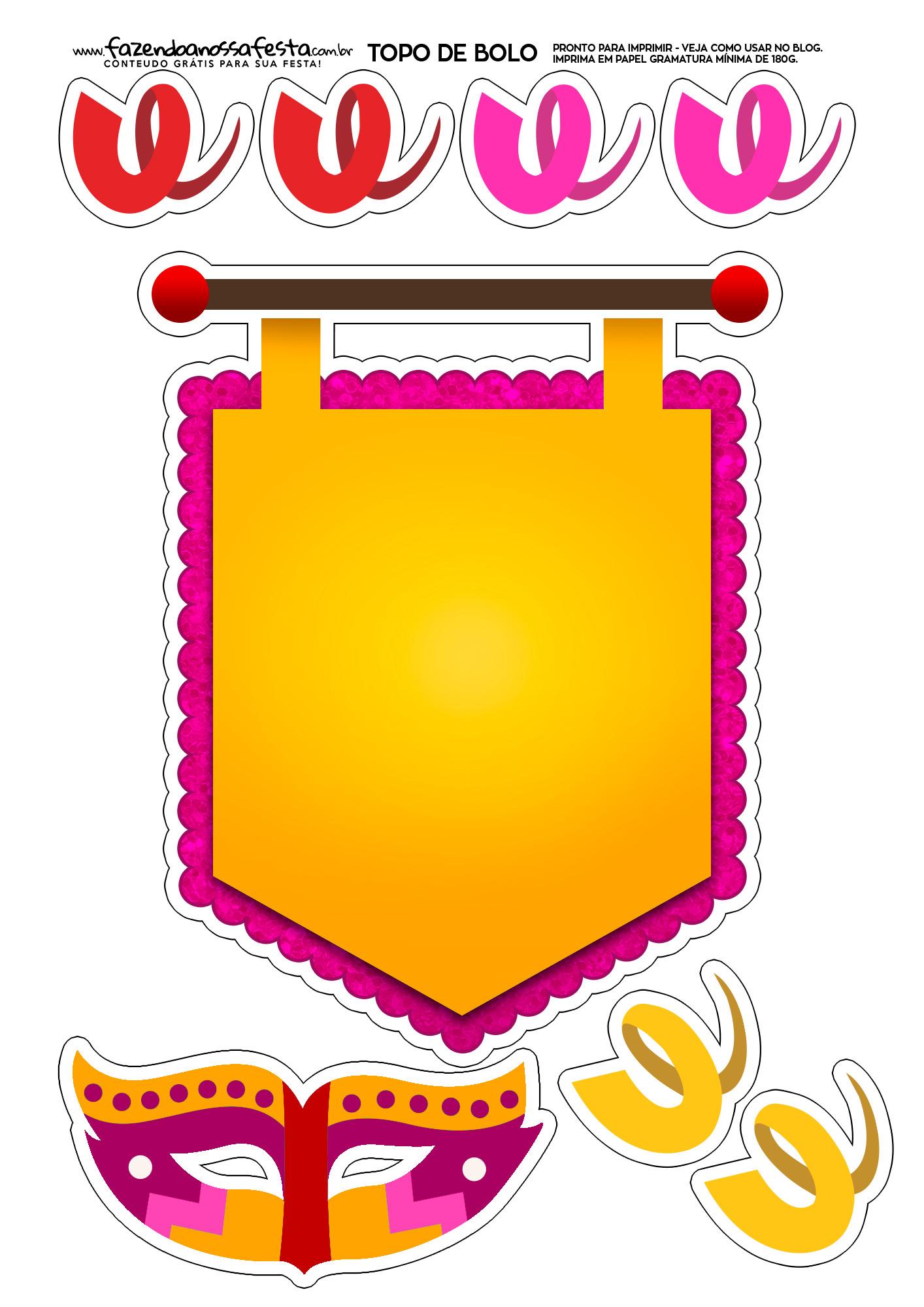 Topo de bolo Carnaval Amarelo e Rosa