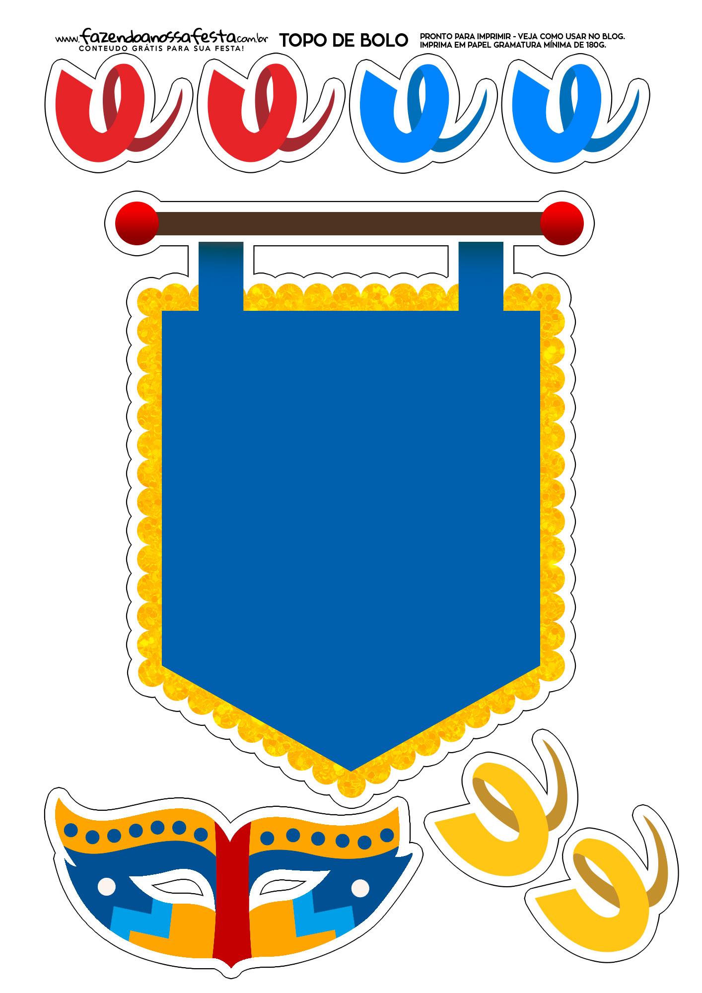 Topo de bolo Carnaval Azul e Amarelo