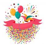 Topo de bolo Carnaval confeti