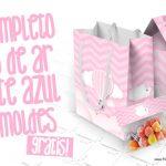 Balão de Ar Quente Rosa Kit Festa Grátis para Imprimir