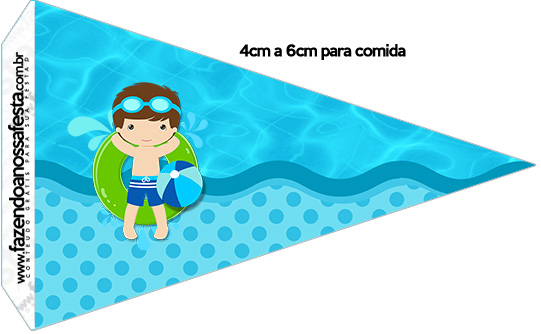 Bandeirinha Sanduiche 1 Pool Party Menino