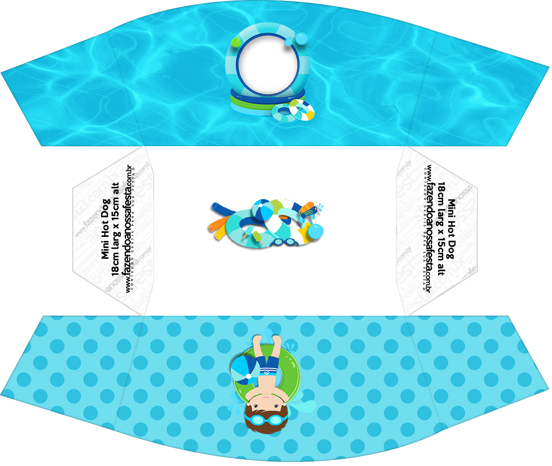 Caixa Mini Cachorro quente Pool Party Menino