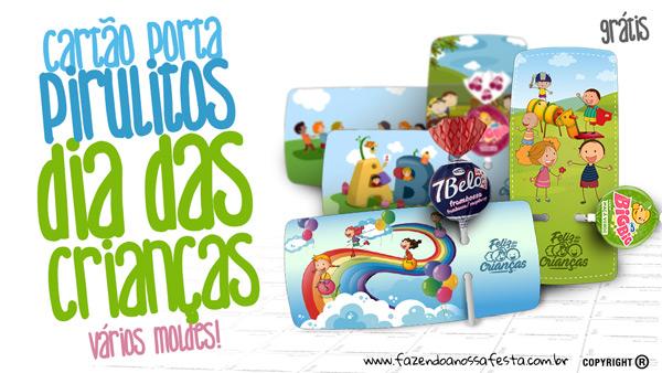 Cartão com Pirulito para Dia das Crianças Molde Grátis