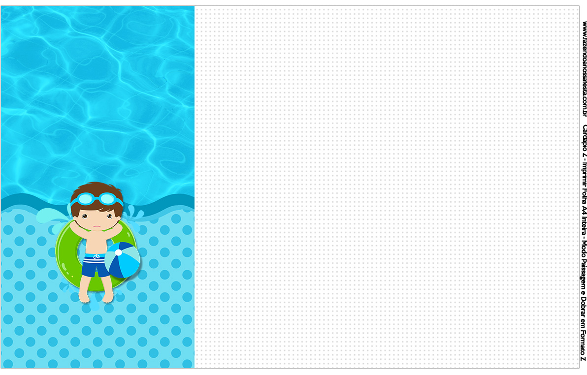 Convite Cardapio ou Cronograma em Z Pool Party Menino