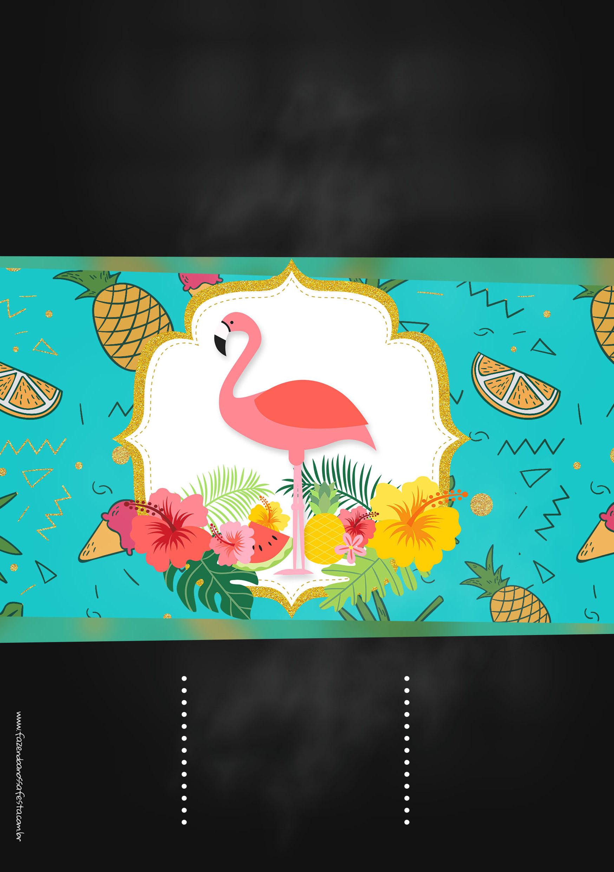 Convite Chalkboard Flamingo Tropical 2