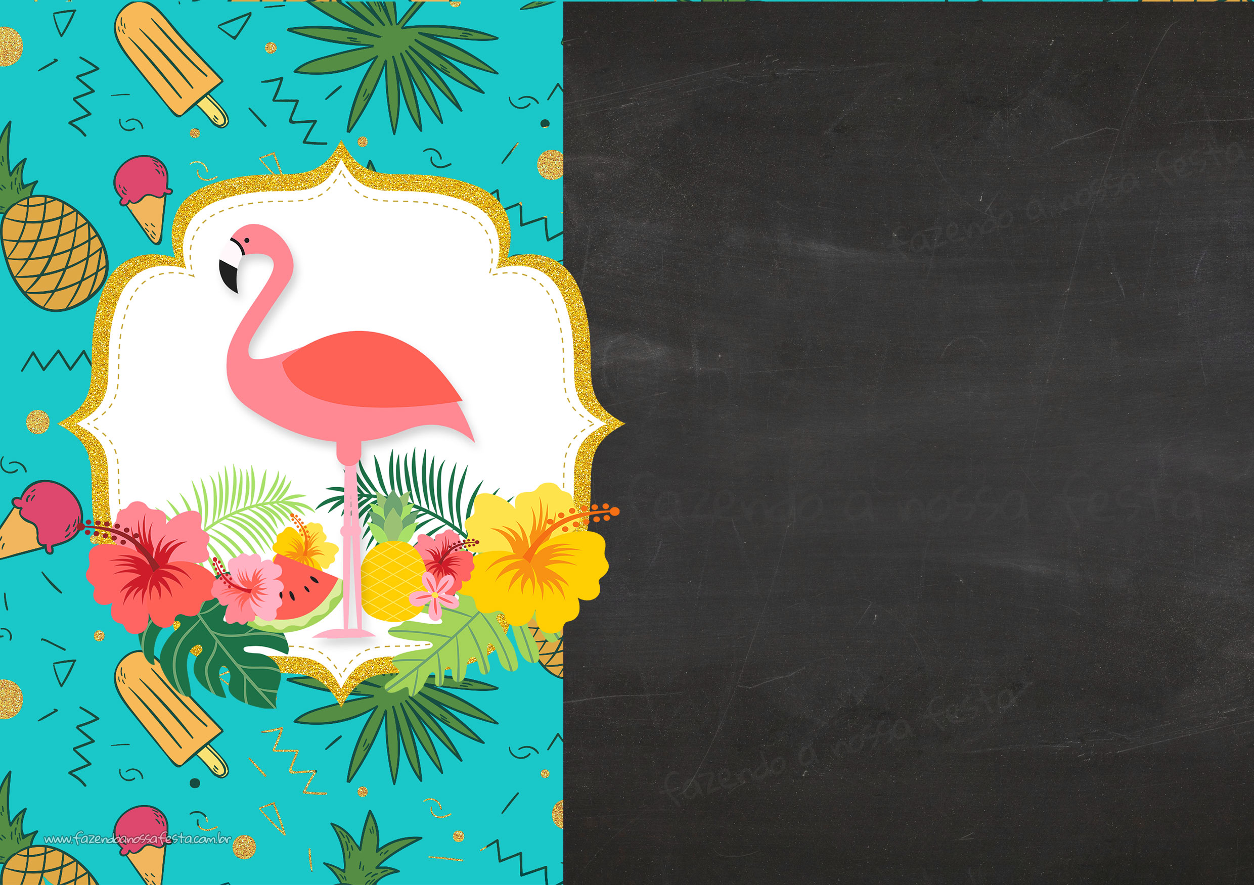 Convite Chalkboard Flamingo Tropical 3