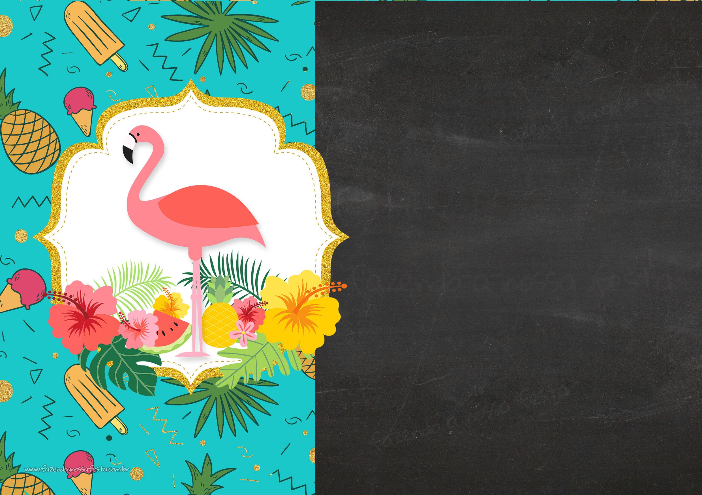 Convite Chalkboard Flamingo Tropical 3